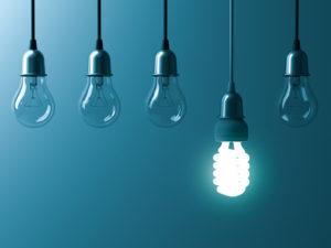 Hanging lightbulbs - shutterstock